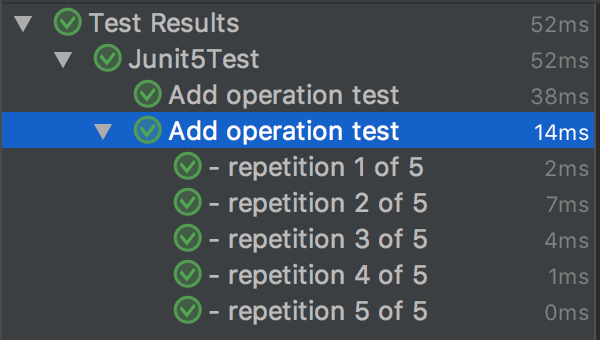 RepeatedTest Run results