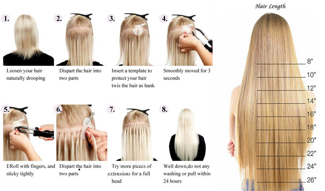 How to apply U Tip hair extensions and choose hair length