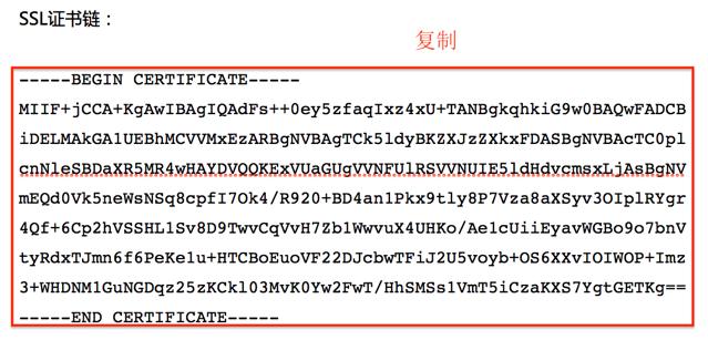 图片显示的是复制并保存为.crt文件的内容