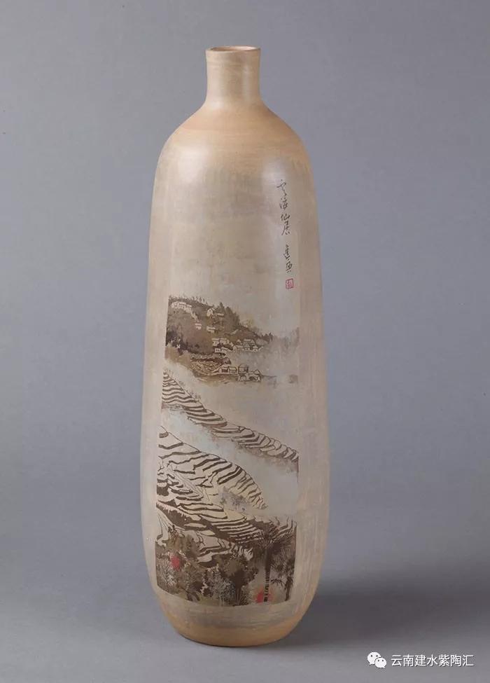 建水紫陶书画陶上水墨重彩刻填技法向进兴