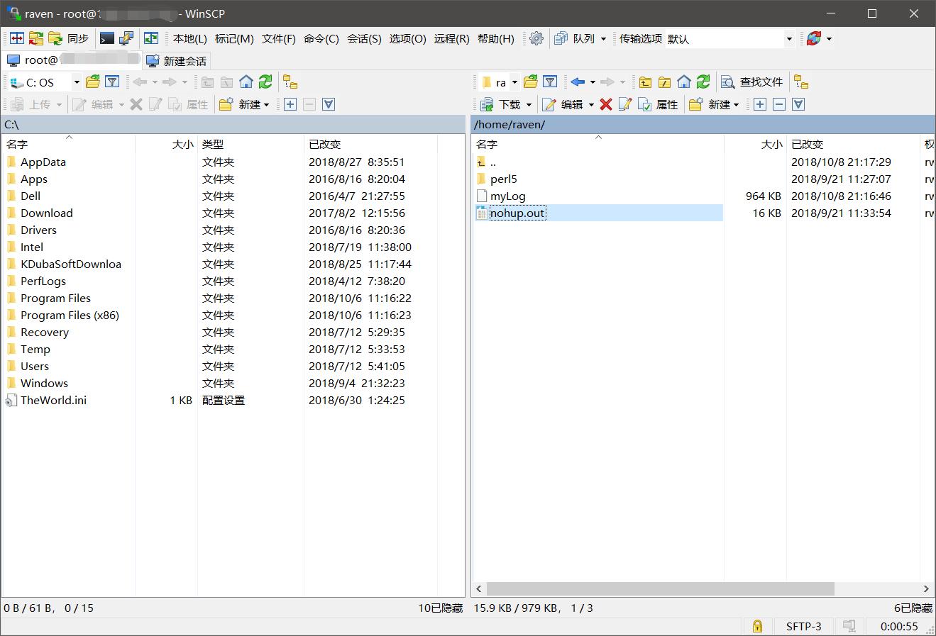 WinSCP界面