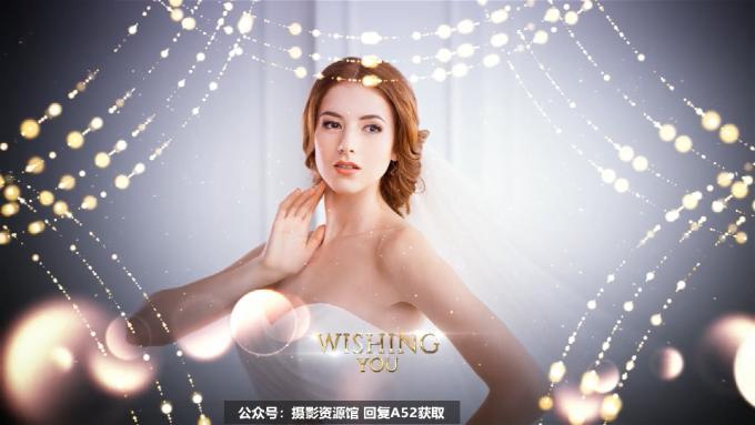 【A52】AE模板-金色粒子帘幕文字婚礼照片相册包装片头 Wedding