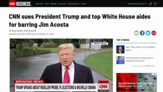 冲突升级,CNN把特朗普告上法庭