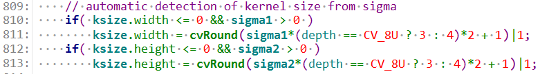 Gaussian kernel size