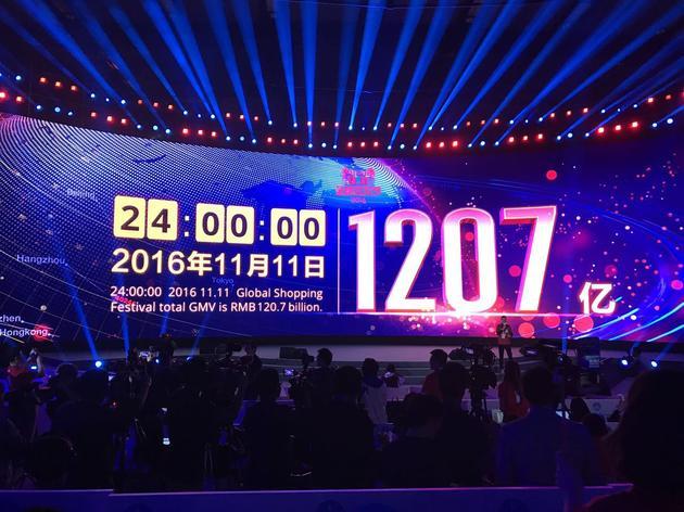 2016天猫双十一全天交易额达1207亿