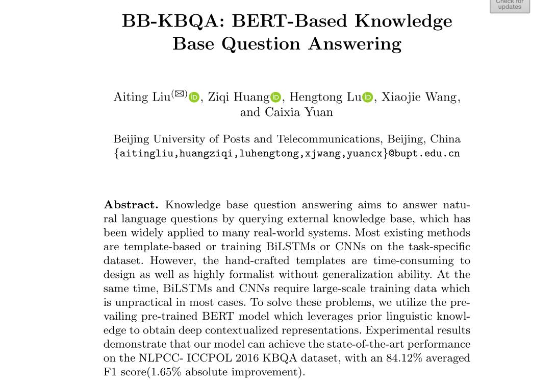 《BB-KBQA:BERT-Based Knowledge Base Question Answering》阅读笔记