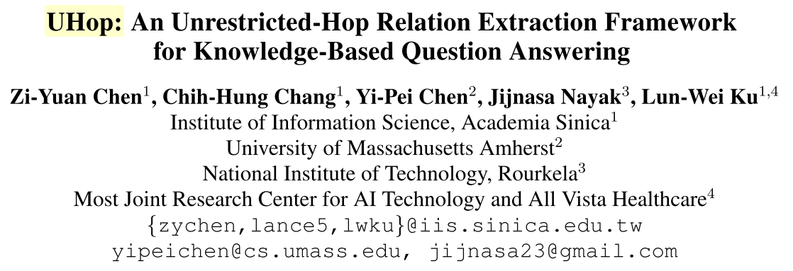 《UHop:An Unrestricted-Hop Relation Extraction Framework for Knowledge-Based Question Answering》主讲报告