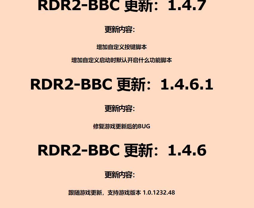 荒野大镖客2外挂BBC更新日志1.4.7