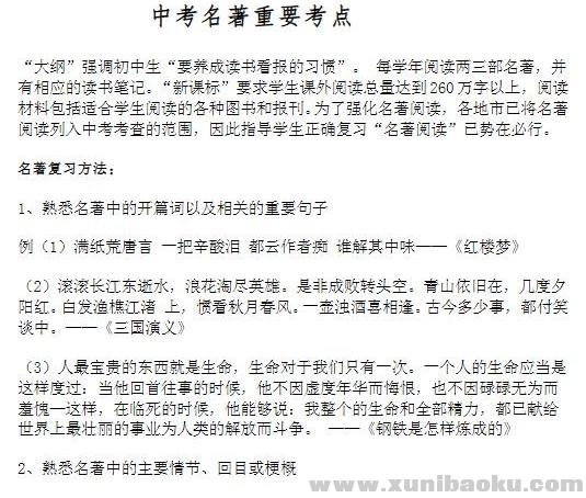 中考语文 文学名著重要考点25页Word文档下载