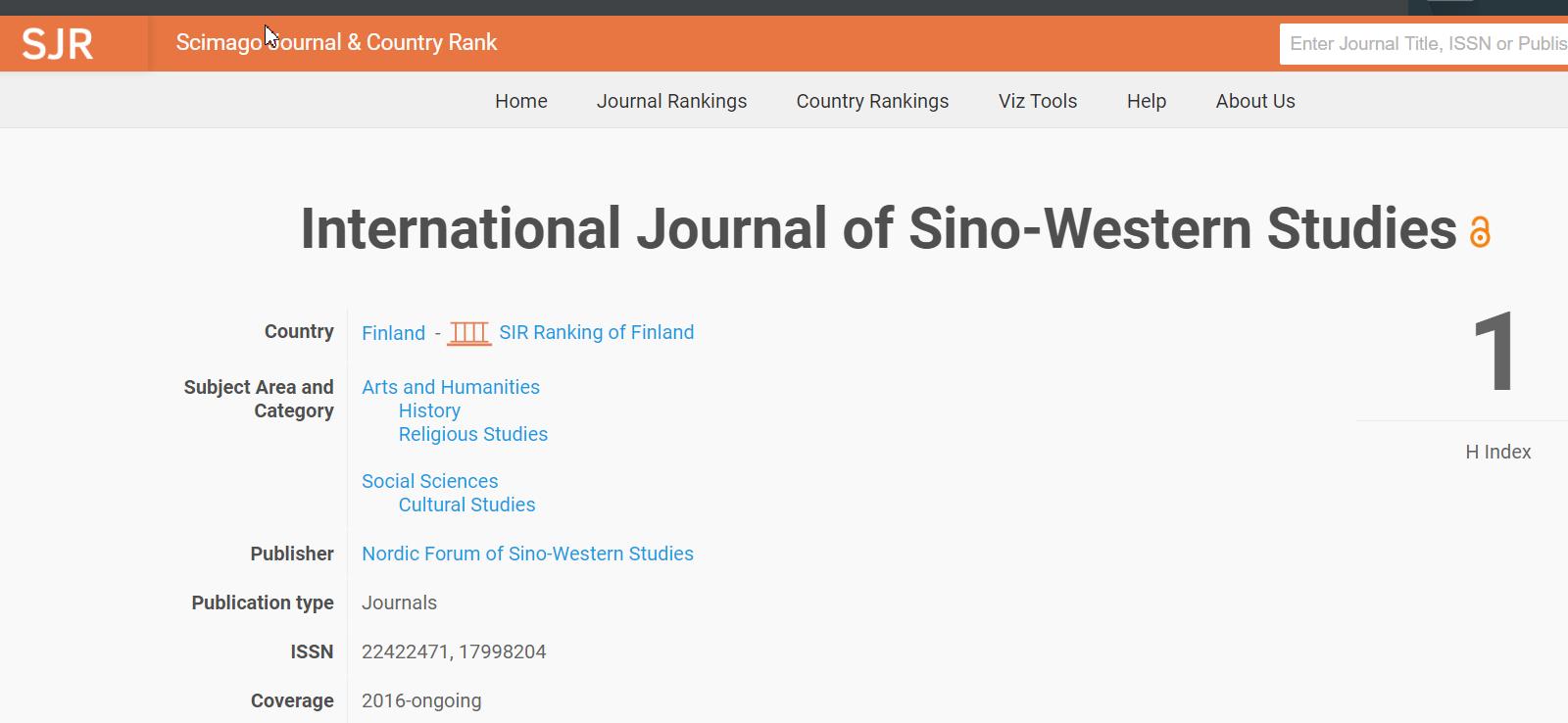 《国学与西学》SCIMAGO索引大幅提升