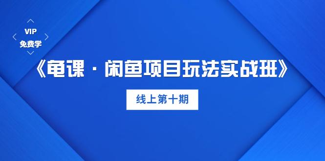 《龟课・闲鱼项目玩法实战班》线上第十期(1-2课)