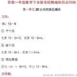 苏教版一年级数学下册名校精编知识点归纳PDF文档下载
