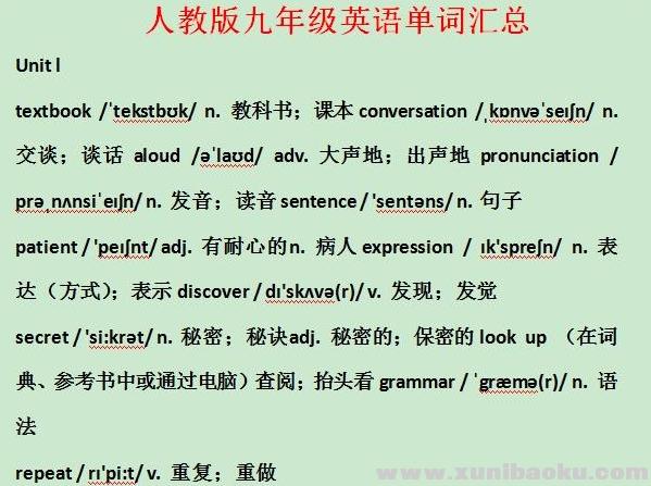 人教版初中九年级英语单词汇总(含音标)Word文档下载