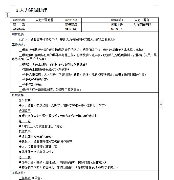 300余个岗位说明书模版百度网盘下载(doc文档)  第3张