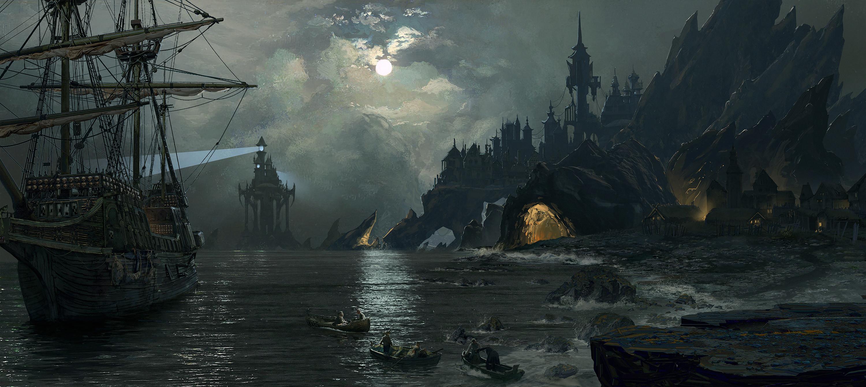 海船 灯塔 海滩 碉堡 城堡 山洞 高清原画暗黑动漫壁纸插图
