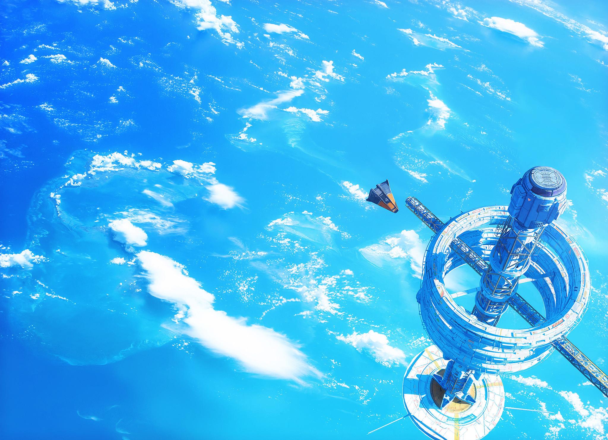 海洋 大海 空间站 科幻 飞机 高清动漫桌面壁纸插图