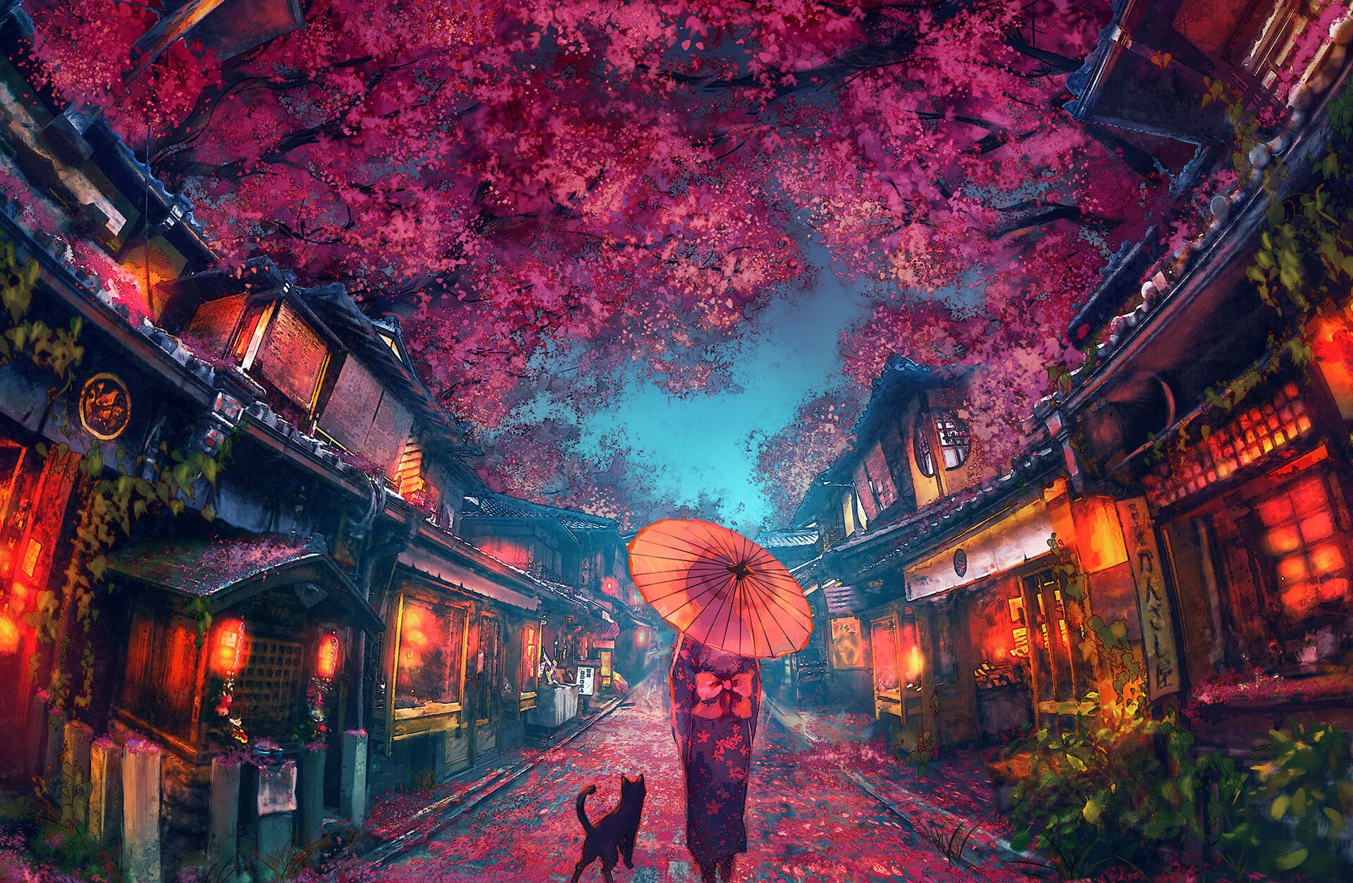 夜晚 樱花 街道 女孩 伞 猫 灯火 高清唯美女孩动漫壁纸插图