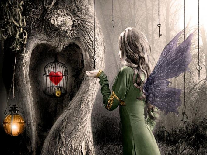 树 钥匙 鸟笼 女人 爱心 翅膀 锁着的心动漫高清电脑壁纸插图