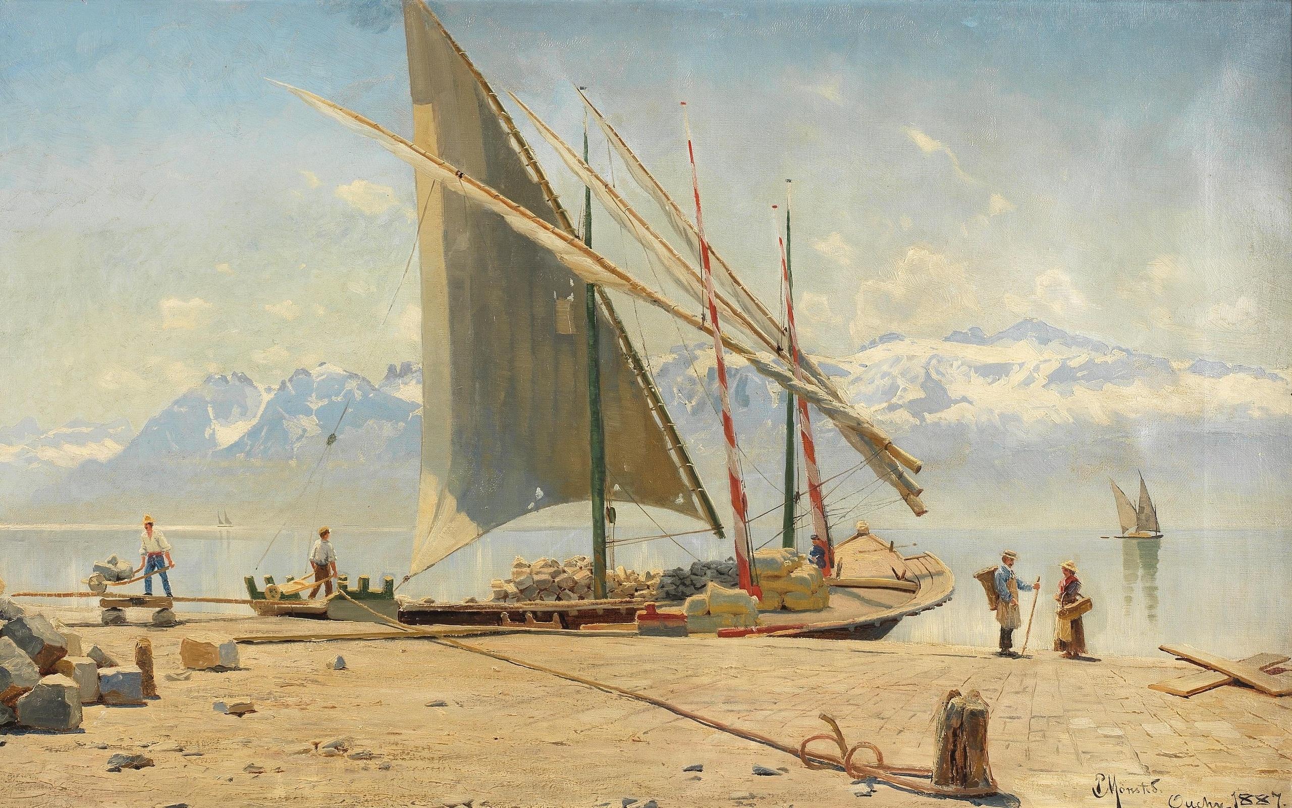 帆船 油画 雪山 人 湖泊 高清动漫桌面壁纸插图