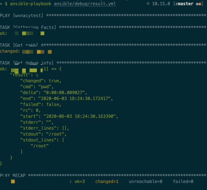 ansible result
