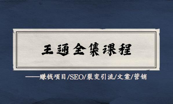 王通全套教程合集(赚钱项目/SEO/裂变引流/文案/营销)