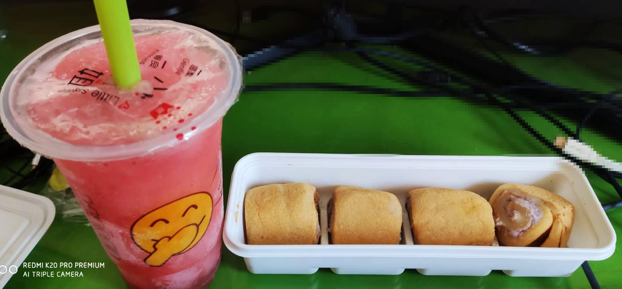 草莓冰砂 + 驴打滚