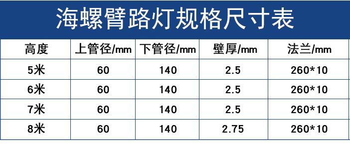 海光海螺臂路灯规格尺寸表