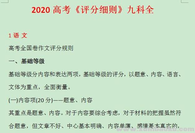 2020高考评分细则九科全Word文档百度网盘下载