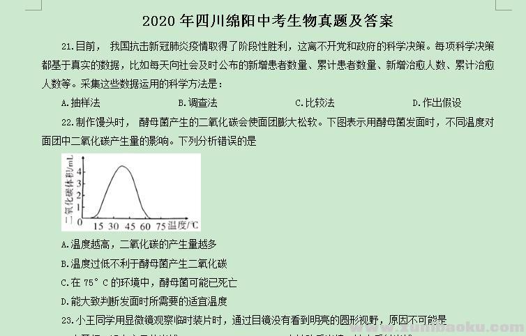 2020年四川绵阳中考生物真题及答案Word文档百度网盘下载