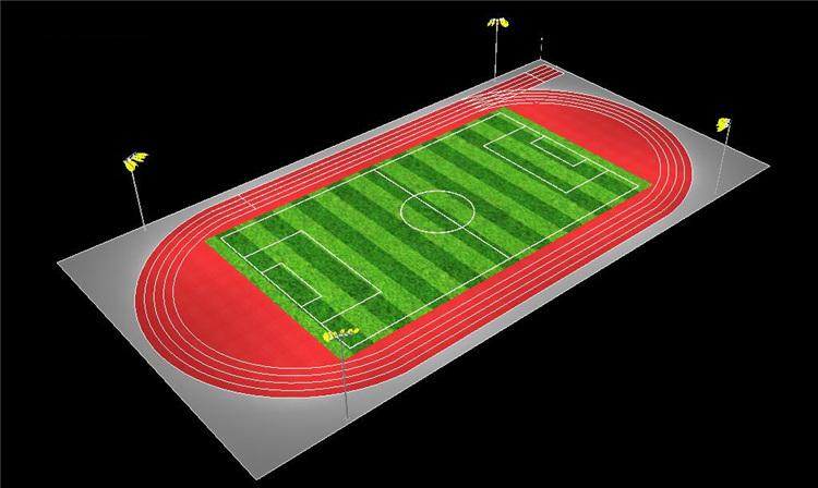 200米标准跑道运动场的照明方案-3D立体效果图