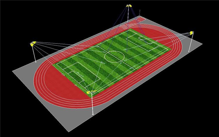 200米标准跑道运动场的照明方案-灯具投射图(立体图)