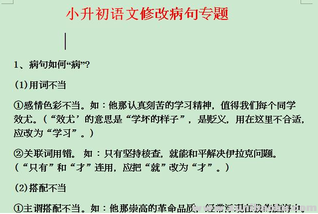 小升初语文修改病句专题Word文档下载