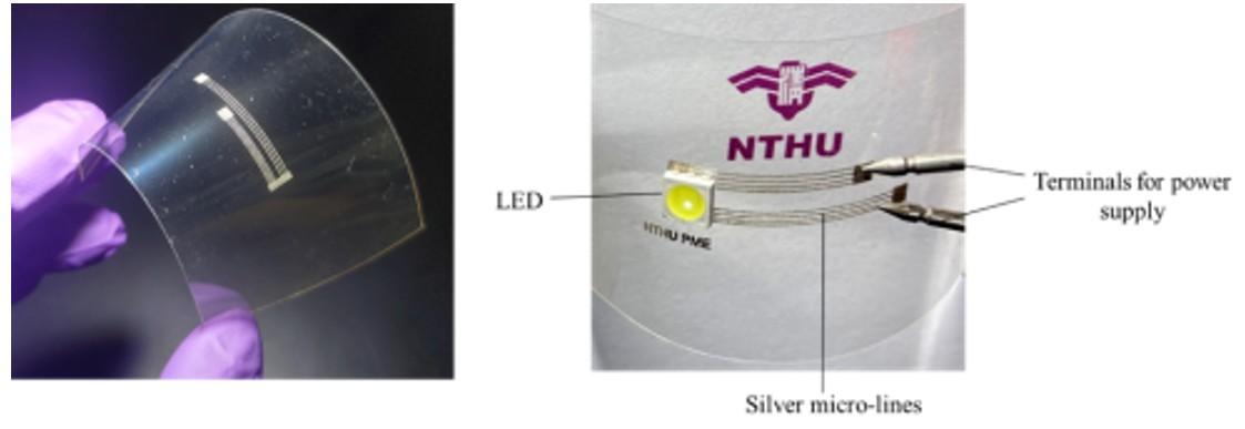 图2:使用LDSP技术于透明高分子基板(polyethylene terephthalate)上快速制作导电线路的范例