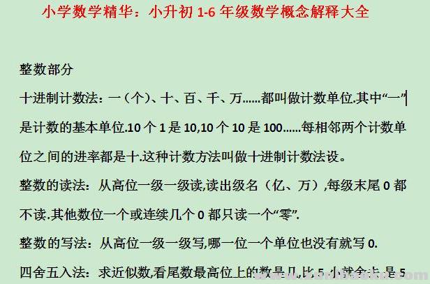 小学数学精华 小升初1-6年级数学概念解释大全Word文档下载