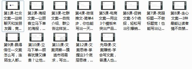 《12课搞定赚钱文案课》全套视频教程(12集)