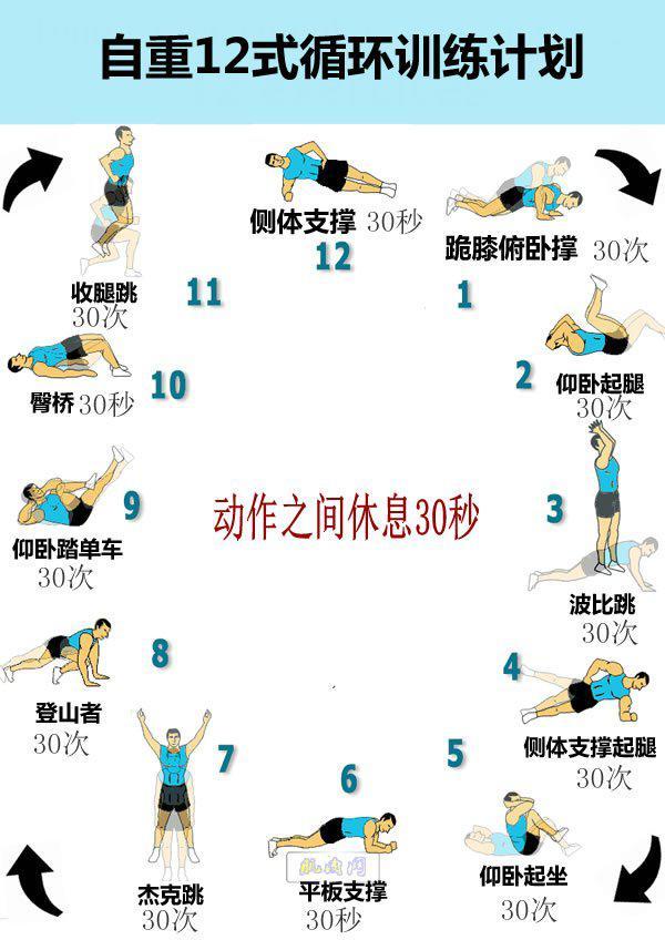 自重12式轮回锻炼计划-追梦健身网