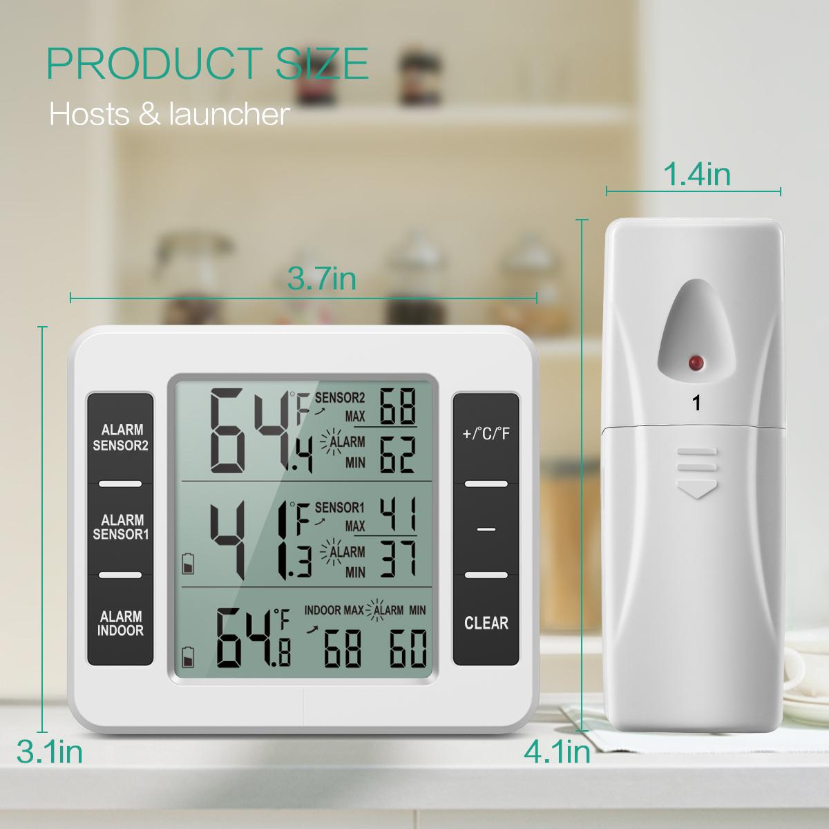 Digital sonde thermomètre double échelle avec min//max et tenir des installations
