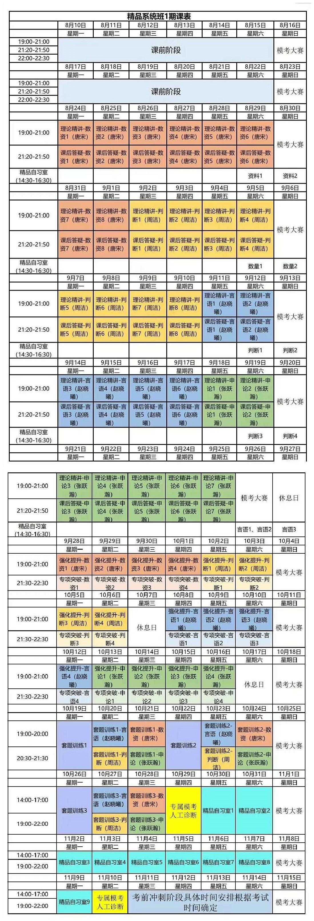 国考线上笔试精品系统班1期课程表