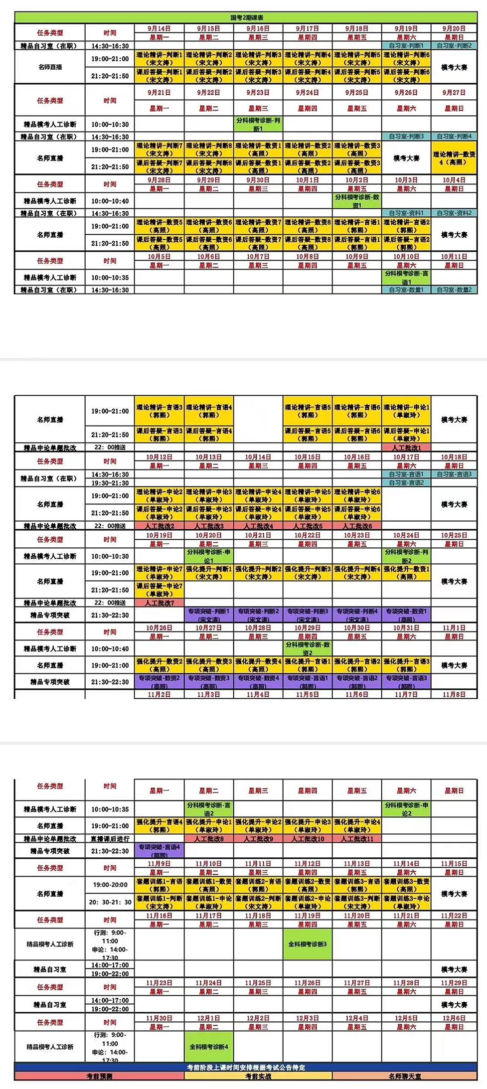 国考线上笔试精品系统班2期课程表