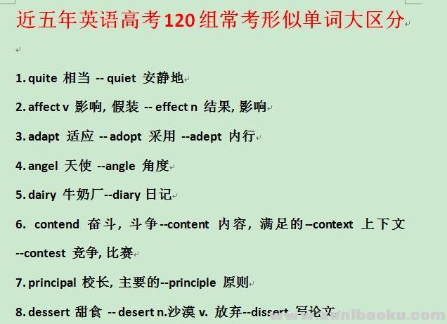 近五年英语高考120组常考形似单词大区分Word文档下载