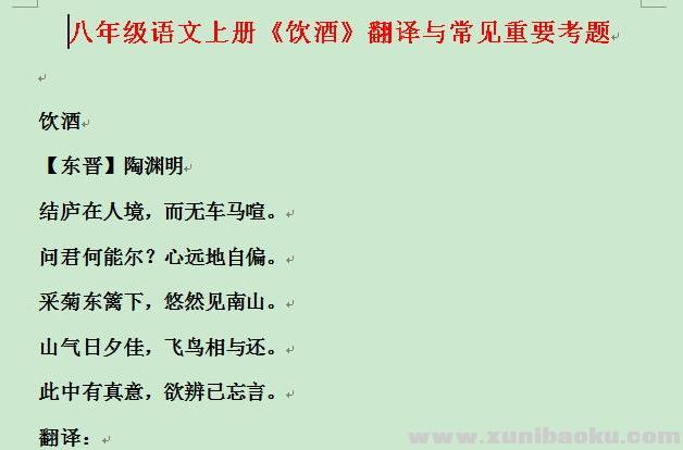 初中八年级语文上册《饮酒》翻译与常见重要考题Word文档下载