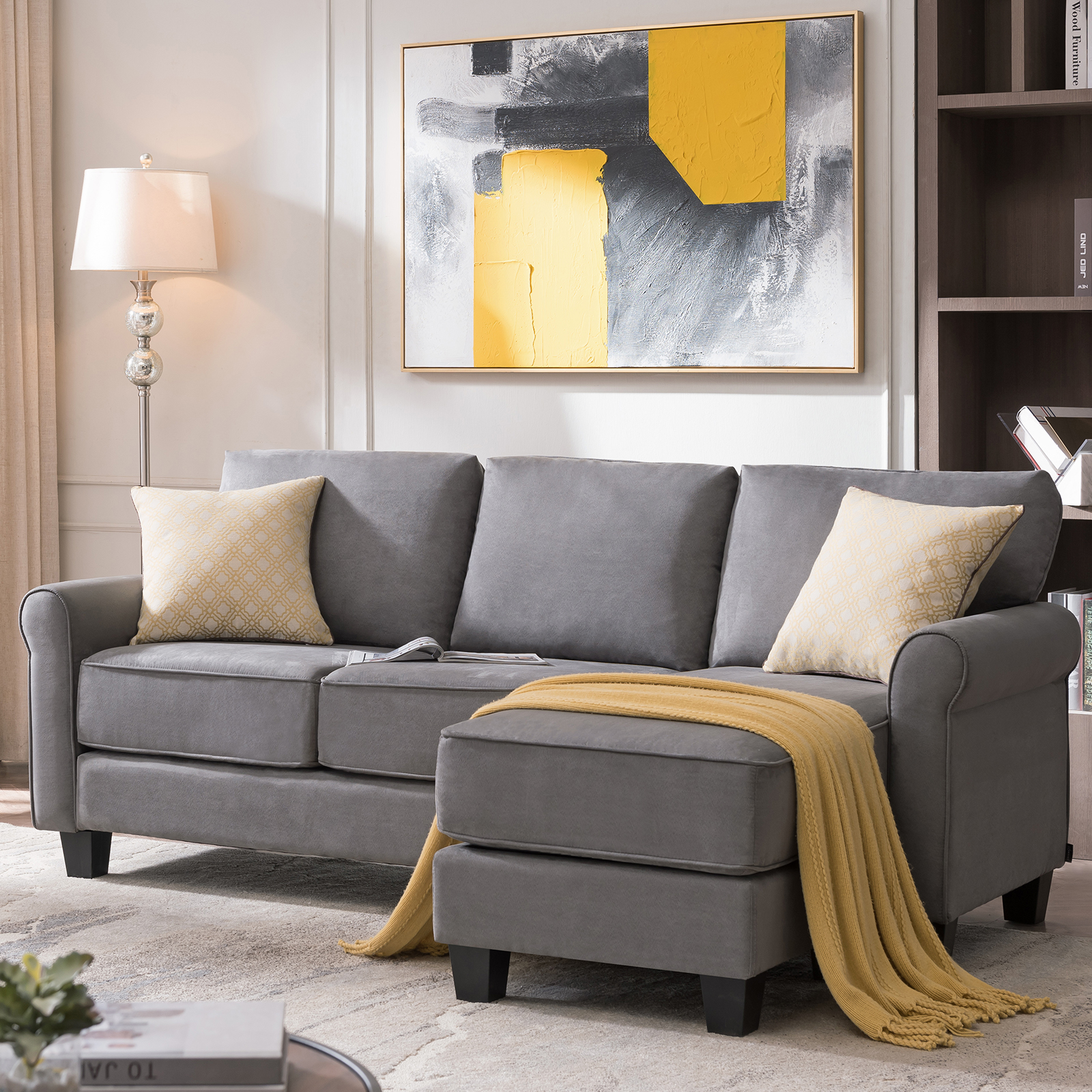 Picture of: Sectional Sofa Convertible Couch L Shape Sofa Couch 3 Seat Dusty Grey Ebay