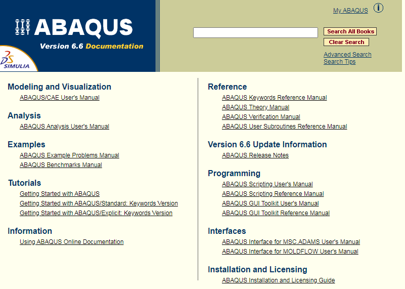 Abaqus 用户手册v6.6 在线版